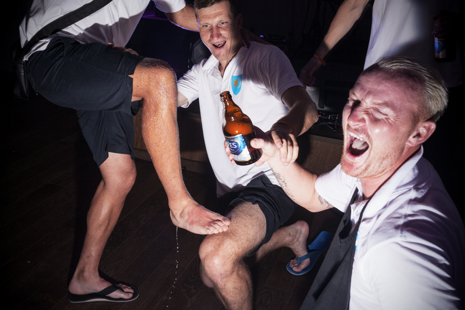 TRNC (Turkish Republic of North Cyprus) , Girne, June 2017.Szekelyland's players celebrate a victory in a nightclub in Girne