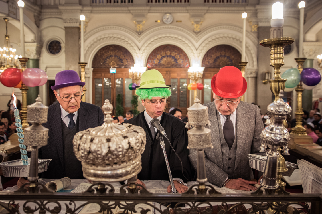 The Sepharidic jewish community celebrates Pourim at the Buffault temple. It is custom that night to dress up in costumes, and study the Book of Esther.