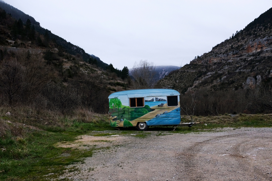 A trailer waiting for the coming summer. Sainte-Énimie, January 11, 2017. Tourism is a major economic income for the remote area of the Cévennes, and two visions cohabit: The first considers the National Park as restraining development activities, the other think it represents an asset for the promotion of the region.