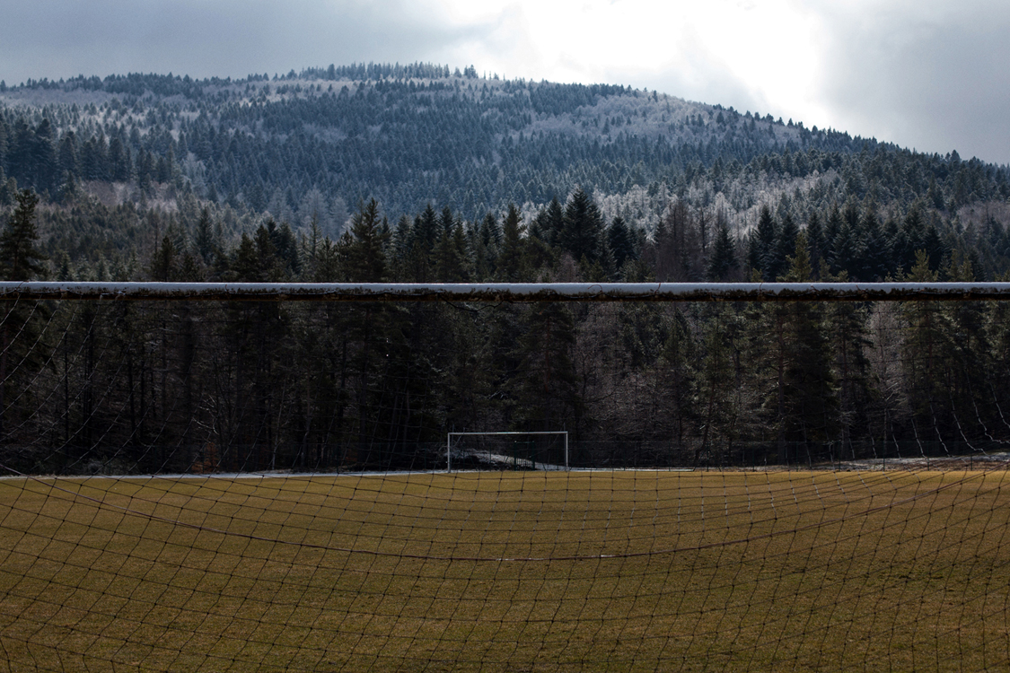 The local soccer field. Le Pont-de-Montvert, February 26, 2016. It is located on the closest large enough flat surface, a few kilometers away from the village.