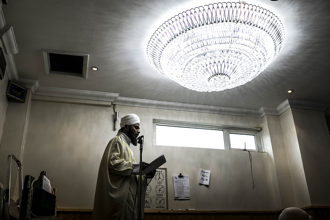 The Imam of the Jamie Masjid reads Islamic prayers at the mosque in Westwood, Oldham. 7.6% of Oldham's population identity as religious Muslim.