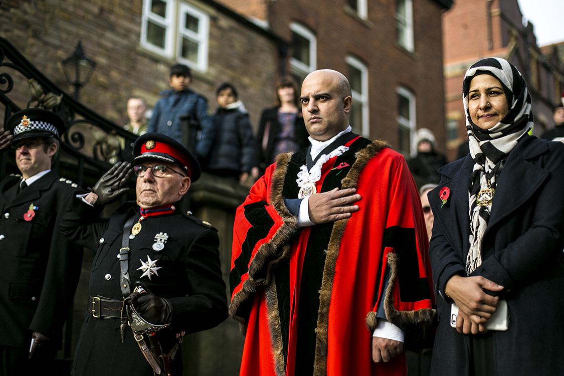 Deputy Mayor Shadab Qumer attends the 2016 Remembrance Sunday service in Oldham's town centre.