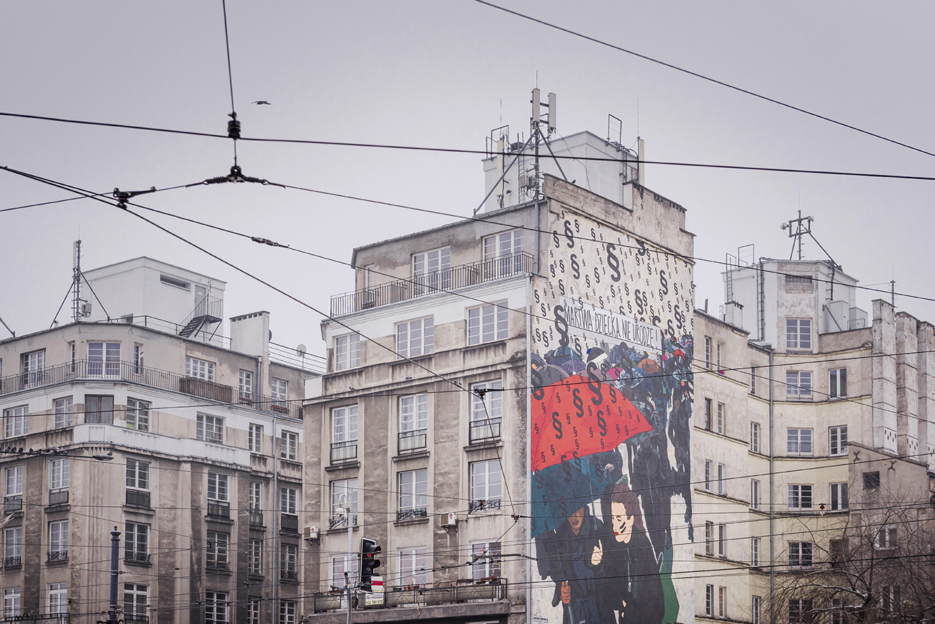 A street art painting designed by Marta Frej, a socially engaged illustrator, was painted in the centre of Warsaw to commemorate the Black Monday marches held in October 2016. More than 100,000 people protested against the tightening up of the anti-abortion law in Poland. Warsaw, January 2017