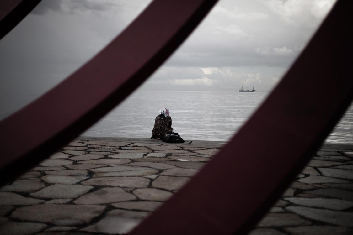 Izmir, on the coast of Aegean Sea where refugees start their journey to Greece, Europe.