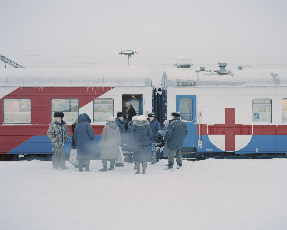 Patients wait at the entrance