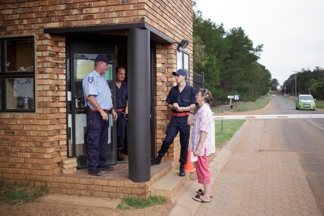 At the Gate of Kleinfontein, Security Guards check every Vehicle going through around the clock. Visitors need an Invitation from an inhabitant to enter.