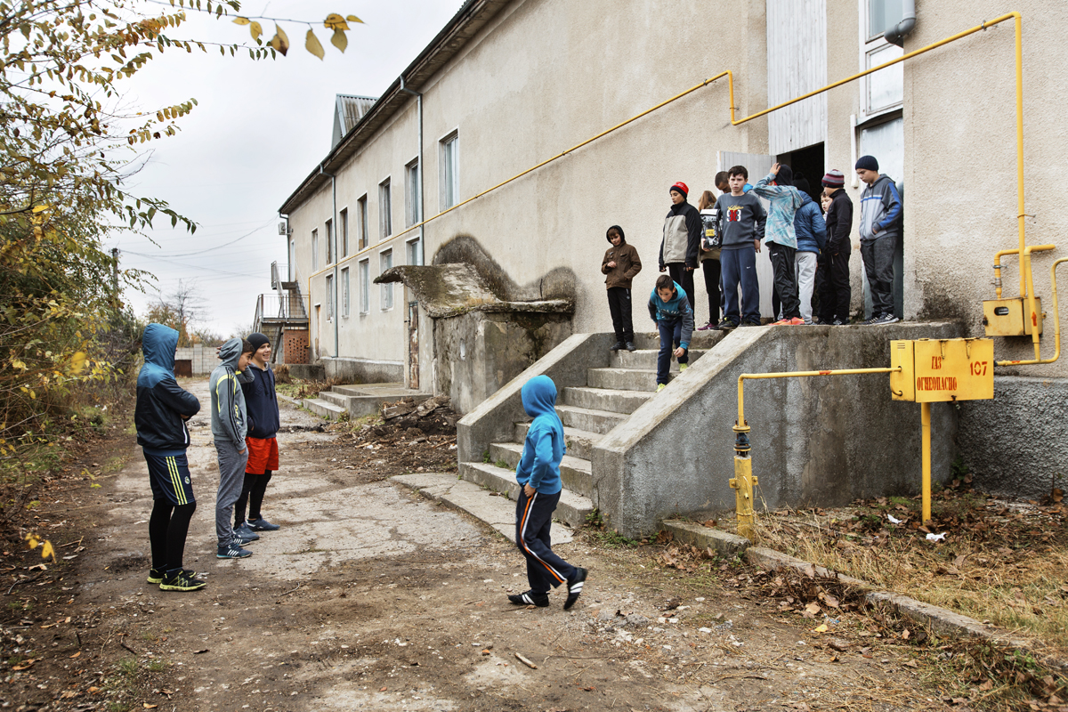 Moldova. Comrat, Gagauzia - November 2017Students of the Boarding Sports School outside of the boxing gymnasium in the first outskirts of Comrat. They train every day and twice a day, one in the morning and one after afternoon classes.