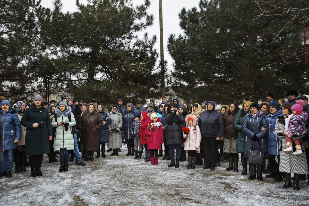 Beshalma, Gagauzia. Moldova - Februrary 2018The community from the village attend at the commemoration in honor of those soldiers who died during the Afghan war. The 25th of February was chosen in honor of the Gagauz soldier who died in the same day in 1982.