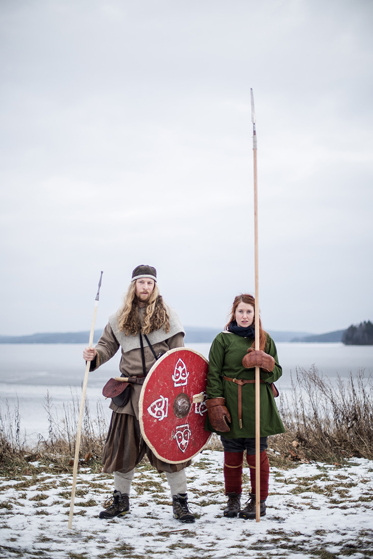 Two viking fighters pose for a portrait during the annual historical fighting festival VInter, in Norway.