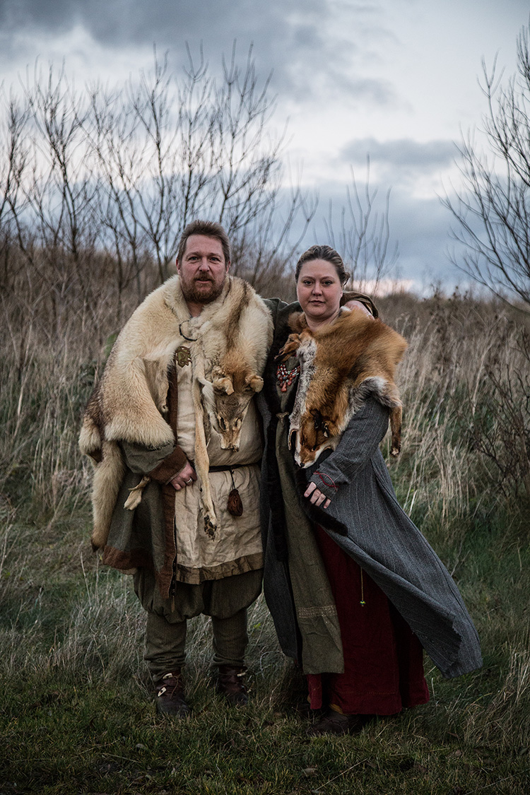 Kiin and Ragnar pose for a portrait in their Viking clothes in the Viking village of Foteviken, Southern Sweden. Kiin and Ragnar met through the Viking subculture almost ten years ago.
