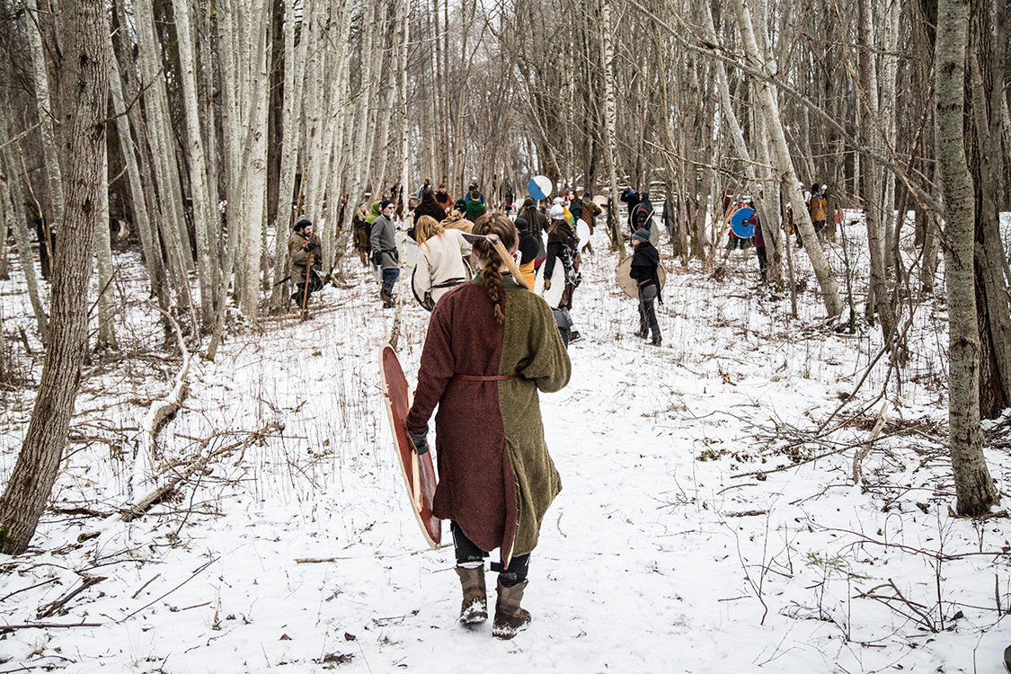 A group of Viking fighters practice formation fighting  in the forest, during the annual historical fighting festival Vinter, held in Norway every year.