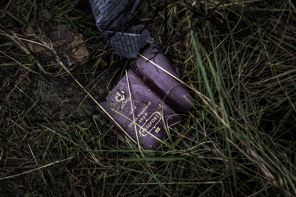 The remainings of an Iranian passport found after the south part of the Jungle was dismantled. 3000 people were living in this area before the eviction started.