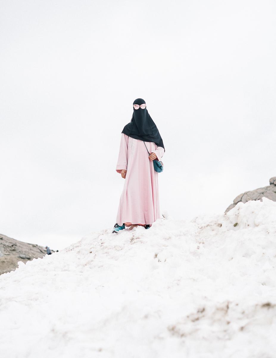 Arabic tourist on a glacier in Austria. 08/2017.© Elias Holzknecht