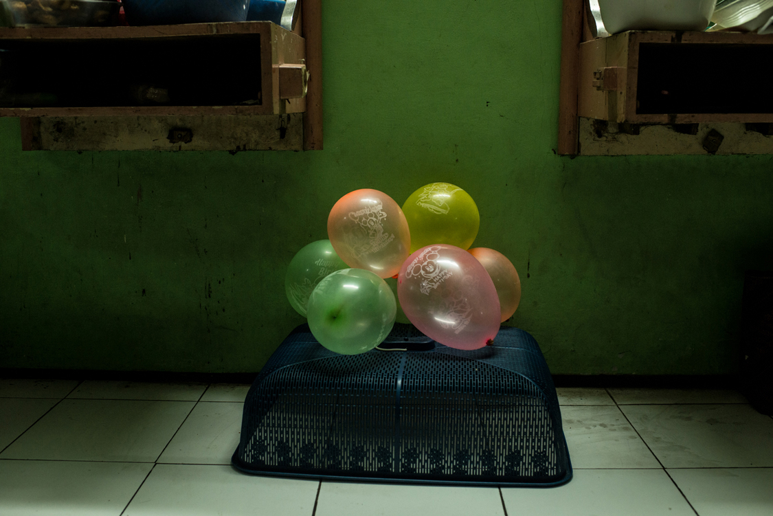 Some baloons ready for celebrating the 54th birthday of Mami Yuli, aka Yulianus Rettoblaut, leader of the Indonesian waria community, at the FKWI headquarter (association of Indonesian waria community). Jakarta, Indonesia, 4th May 2016.