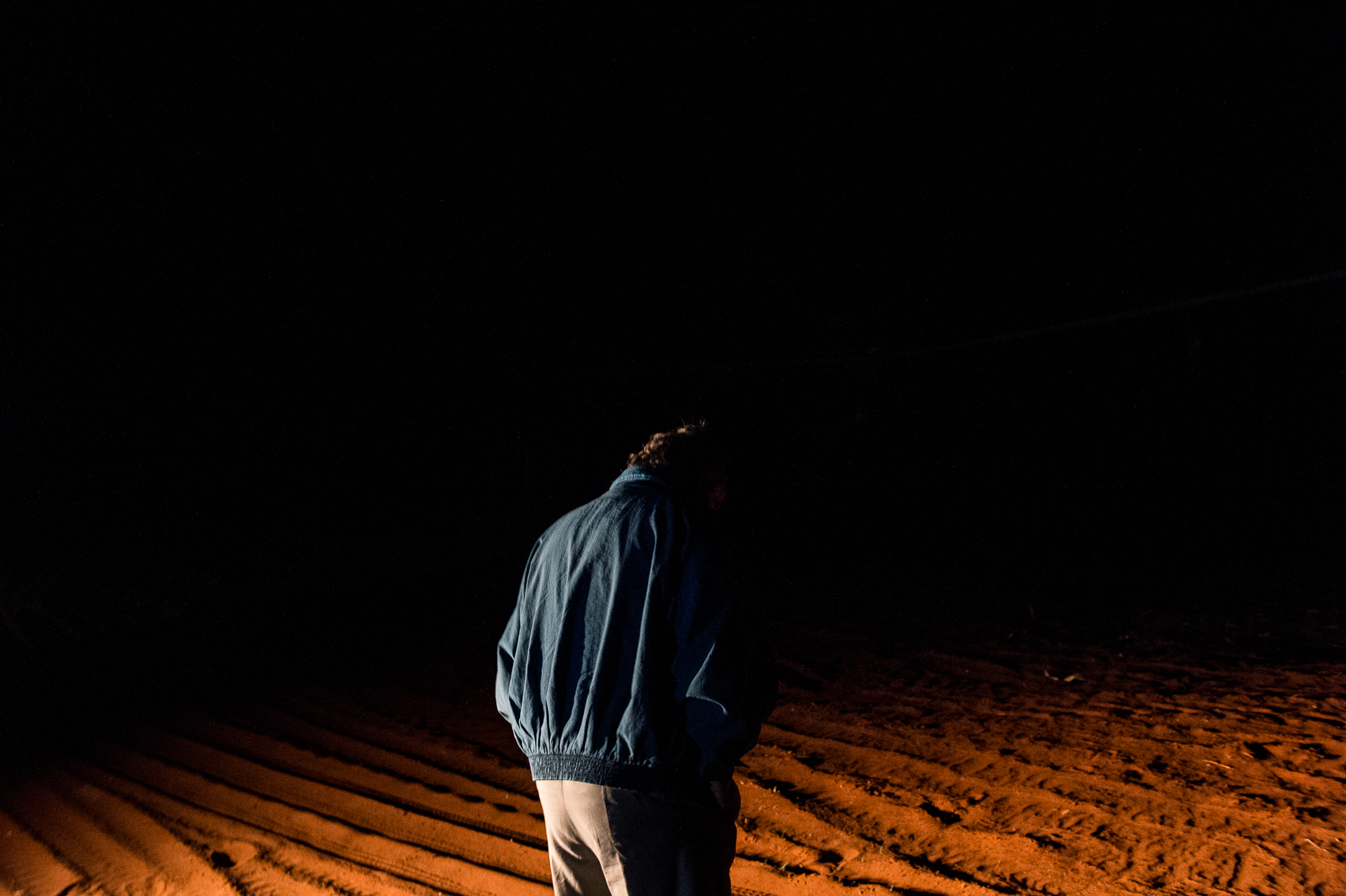 South Africa, Northern Cape, 03.08.2018 // Willem, a farmer in the Karoo Desert, living next to Orania, Northern Cape. At night he is turning on the irrigation for the fields. // Lucas Bäuml