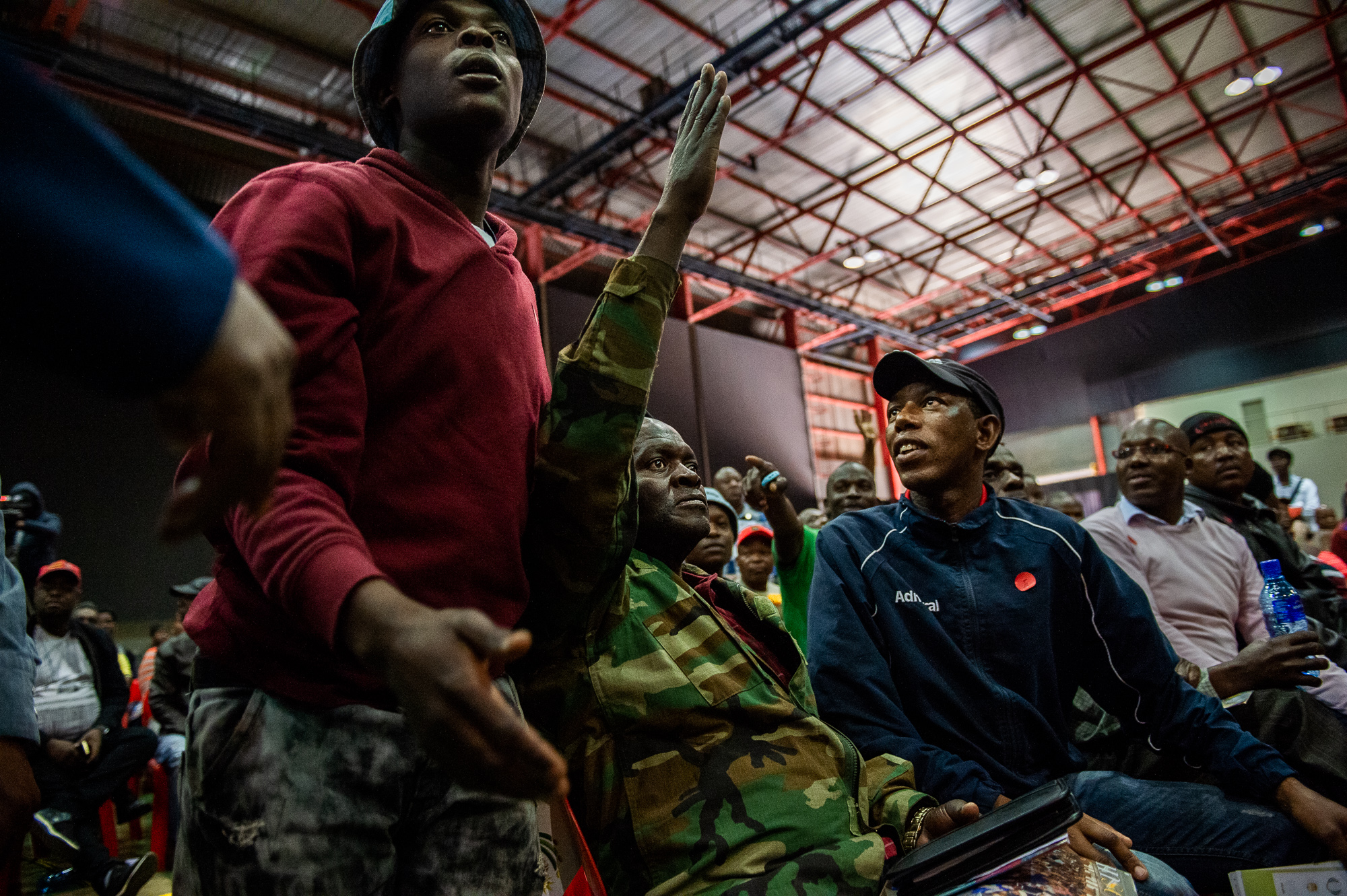 South Africa, Pretoria, 28.07.2018 // The land debate is often highly emotional. During a public hearing in the Heartfelt Arena in Pretoria, people of the audience get upset about one of the presented opinions. // Lucas Bäuml