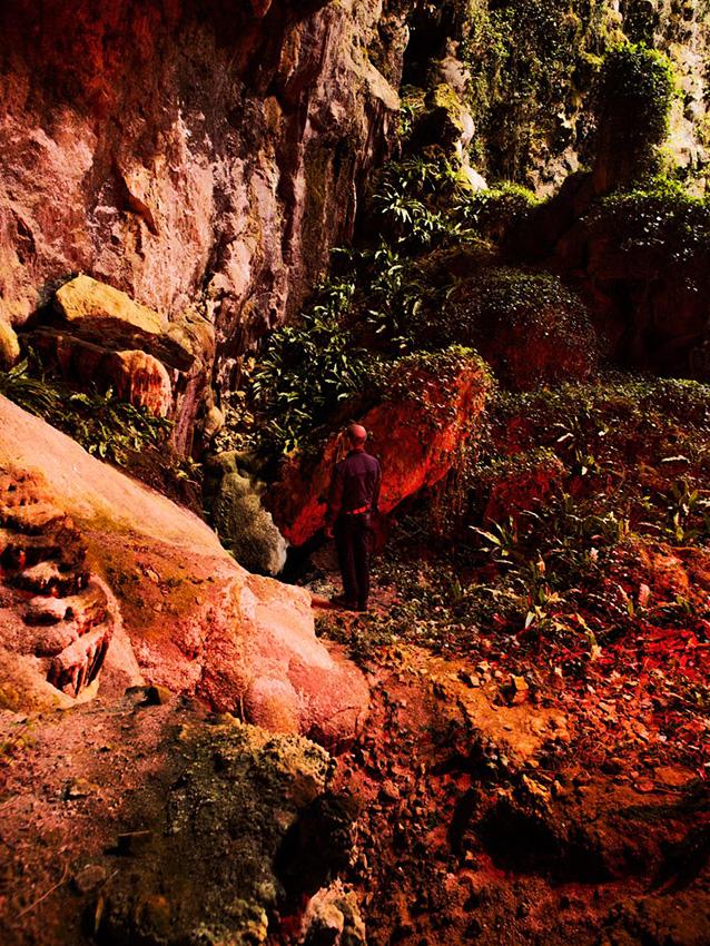 Mario in a cave in Supramonte, Barbagia.