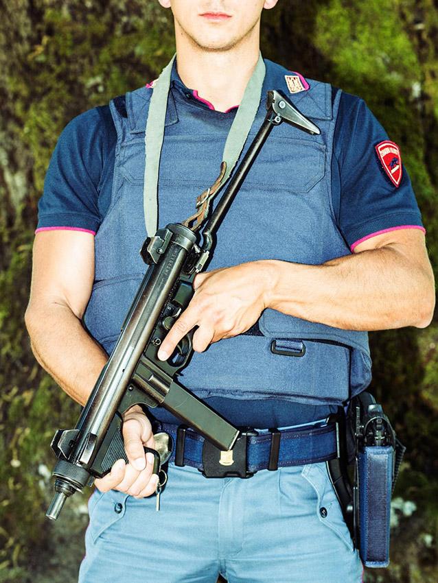 Policeman in Orgosolo, Barbagia.