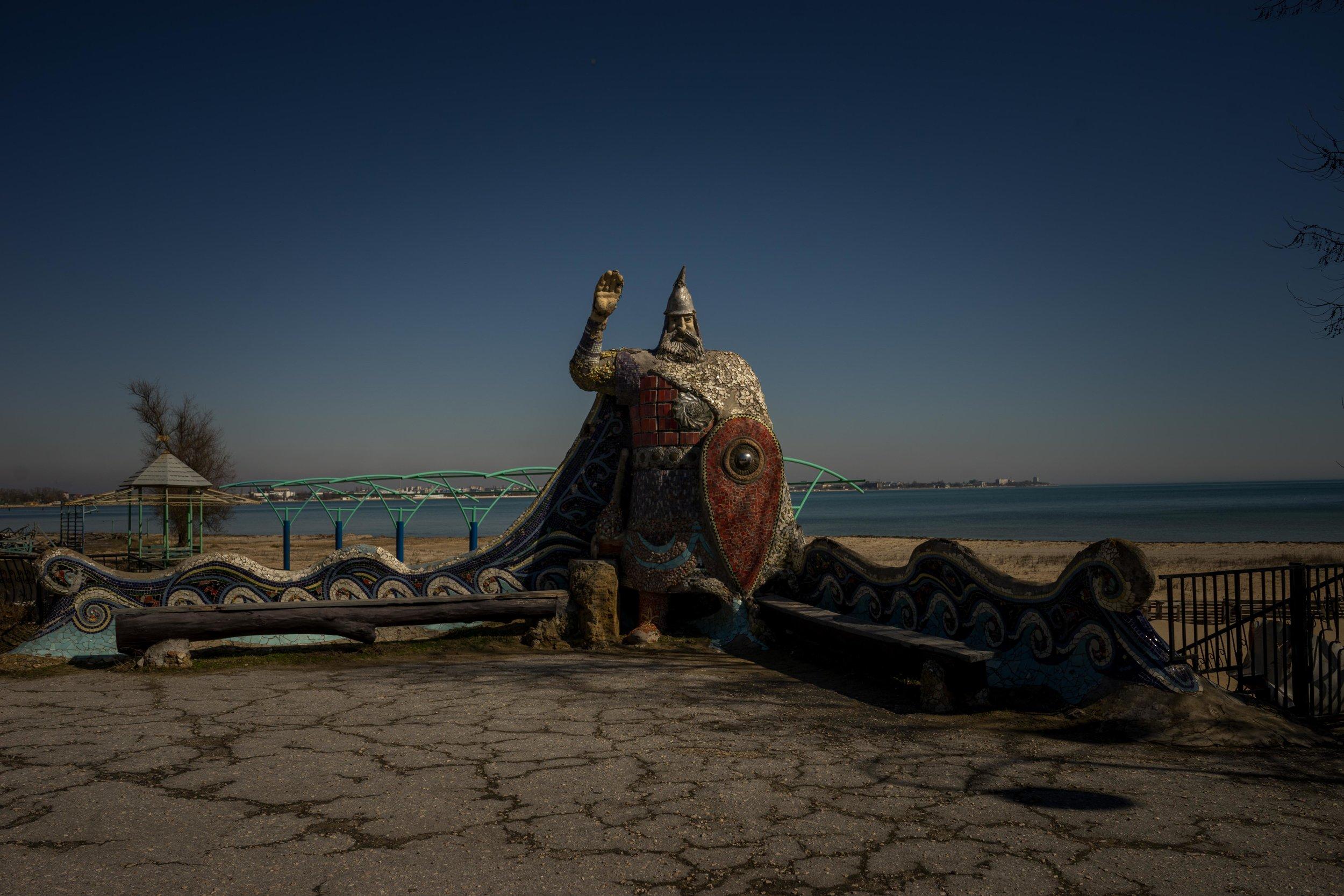 Hero of Russian folk tales on the city embankment, Yevpatoria, Crimea