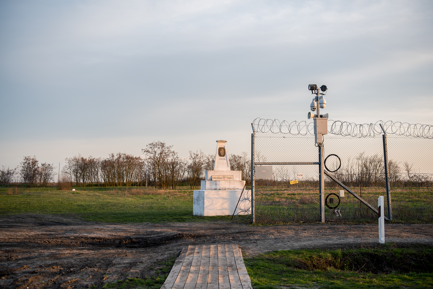 Trianon memorial at the end of the Hungarian border barrier near the triple border of Hungary, Serbia and Romania at Kübekháza, 30 March 2018.  The fence was constructed in the middle of the European migration crisis in 2015, with the aim to ensure border security by preventing immigrants from entering the country and the European Union illegally.