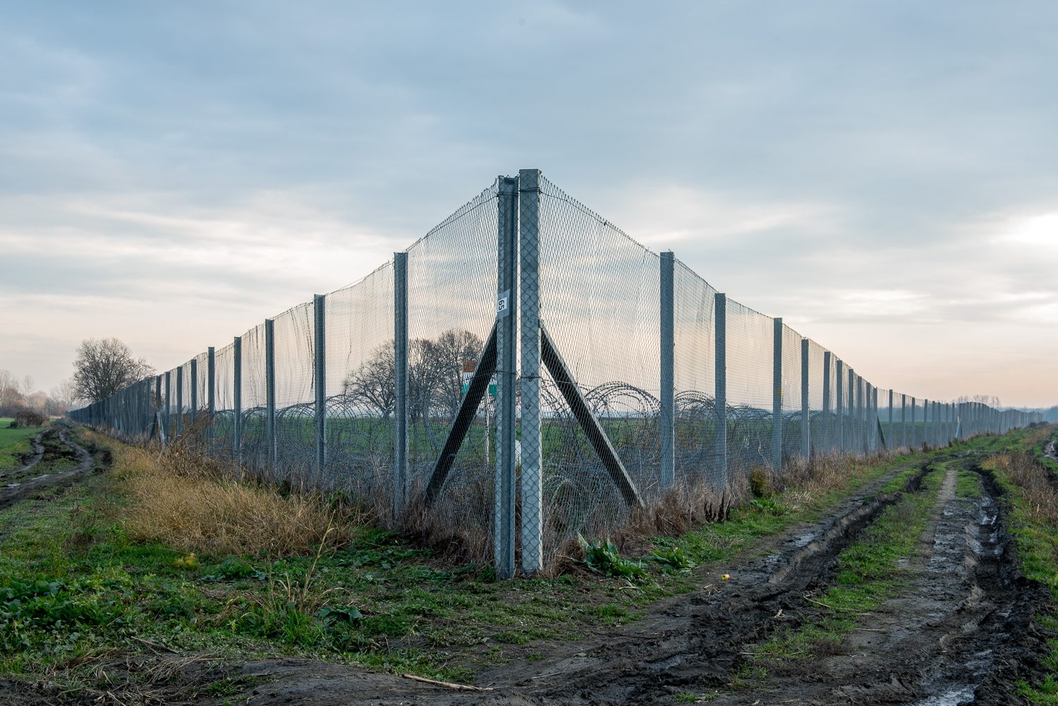 The border barrier which separates Hungary and Croatia near Kásád, Hungary 25 November 2017. The fence was constructed in the middle of the European migration crisis in 2015, with the aim to ensure border security by preventing immigrants from entering the country and the European Union illegally.