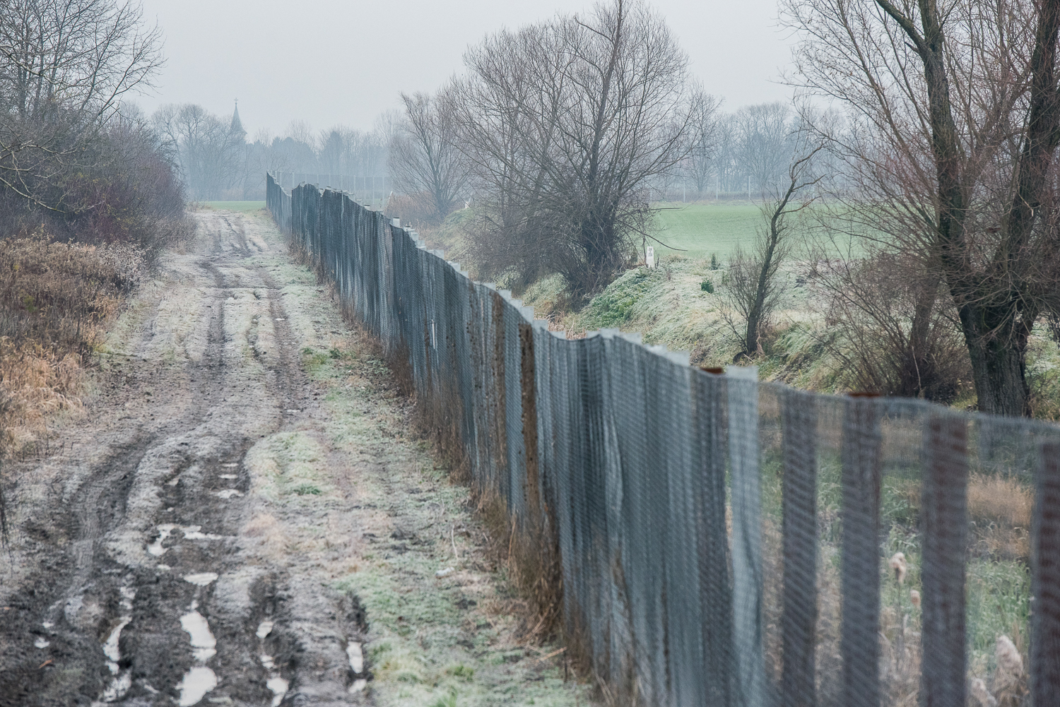 The border barrier which separates Hungary and Croatia near Illocska, Hungary 2 December 2017. The fence was constructed in the middle of the European migration crisis in 2015, with the aim to ensure border security by preventing immigrants from entering the country and the European Union illegally.