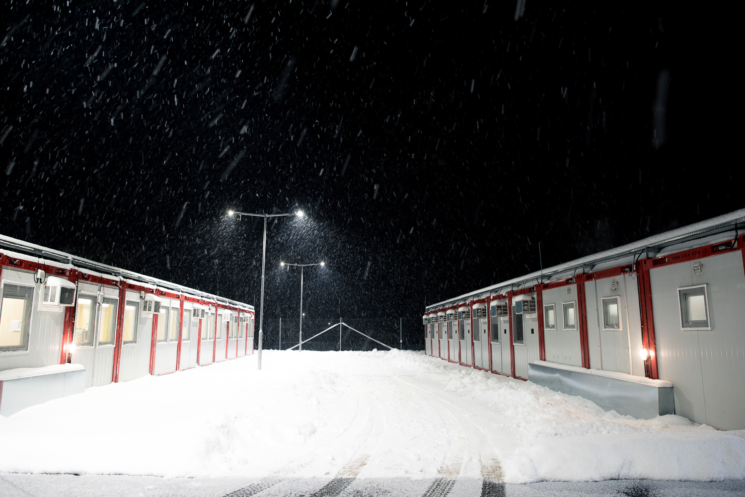 Border Protection Base during snowfall at Hercegszántó, Hungary 27 February 2018.  The fence was constructed in the middle of the European migration crisis in 2015, with the aim to ensure border security by preventing immigrants from entering the country and the European Union illegally.