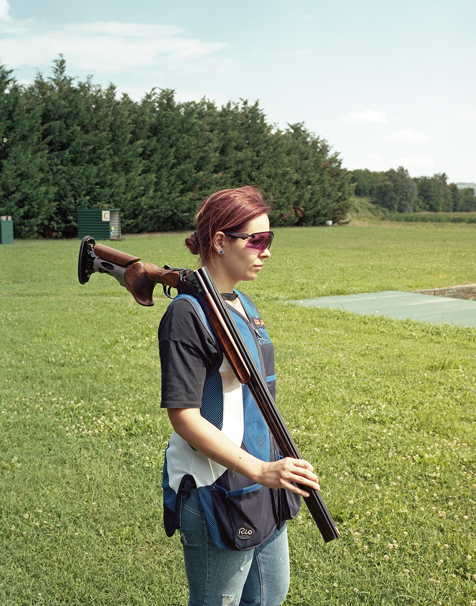 Montebello, Italy, 2018Laura a young woman from the small town of Montebello at the local shooting range