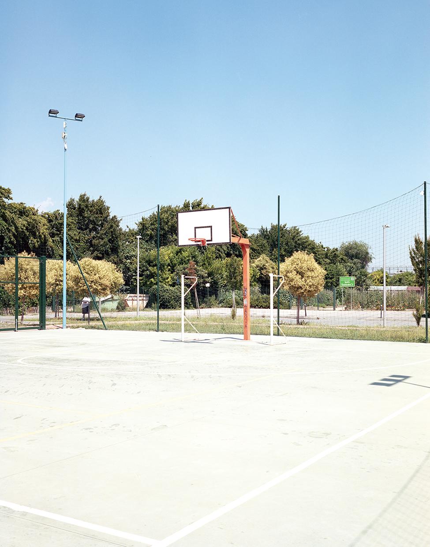 Creazzo, 2018, ItalyBasketball field in the courtyard of the local high school