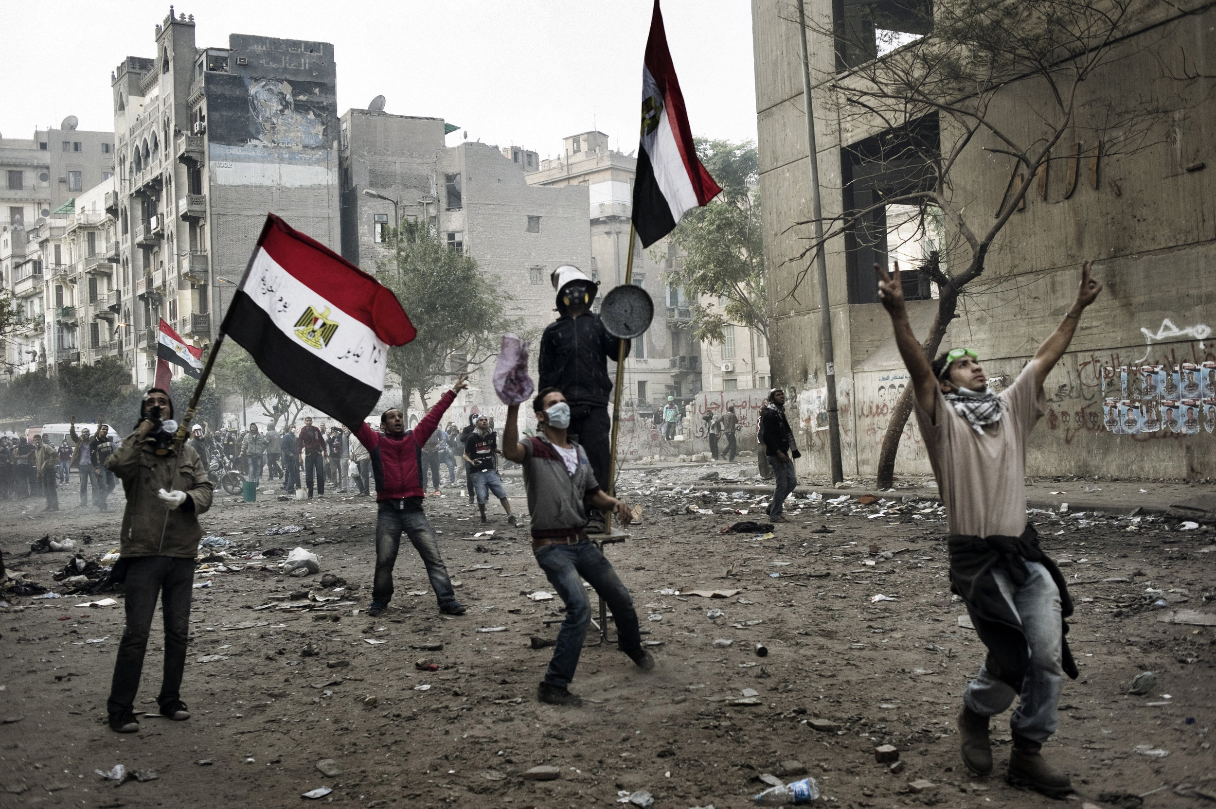 Cairo Egypt November 23, 2011:The battle zone along Mohamed Mahmoud street in Cairo, November 23, 2011.