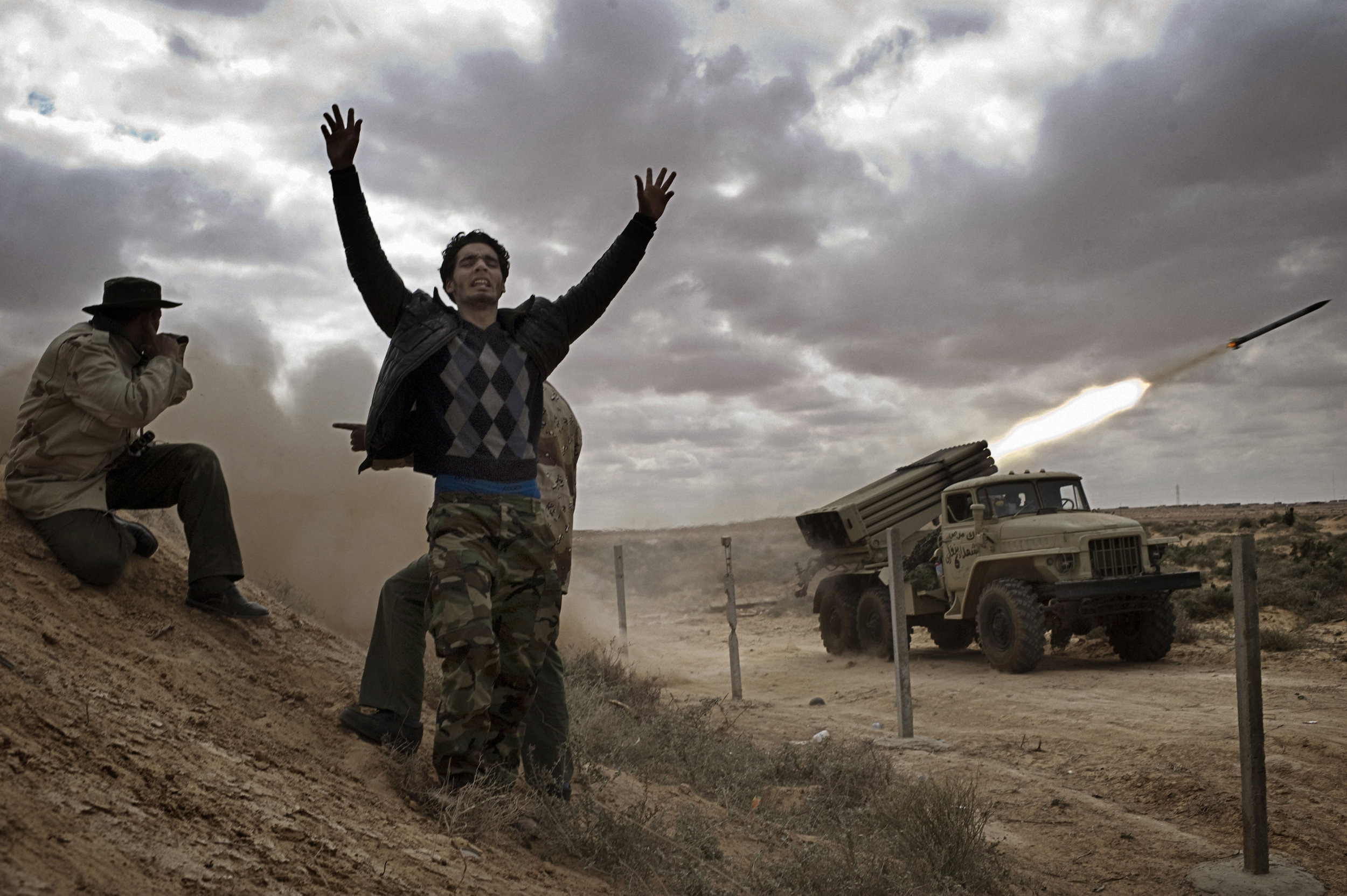 RAS LANUF, LIBYA - MARCH 09: Libyan rebels fire Katyusha rockets at government troops on the frontline