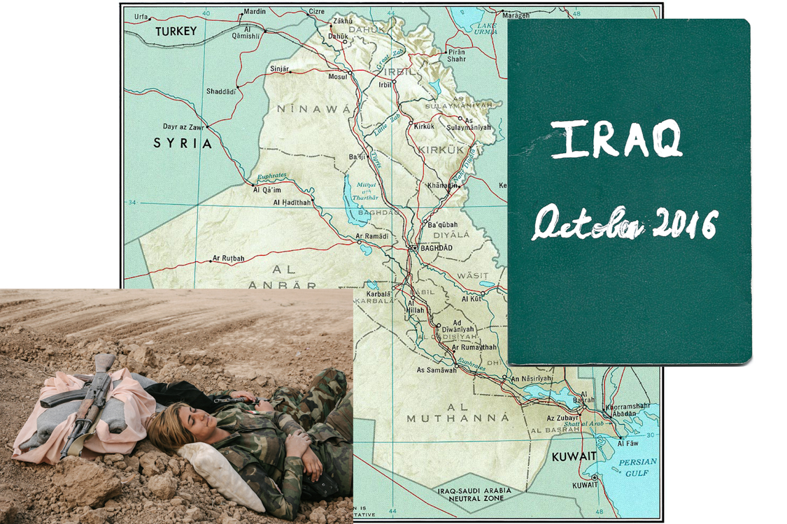 Collage with my personal notebook, a map of Iraq and a picture I took.