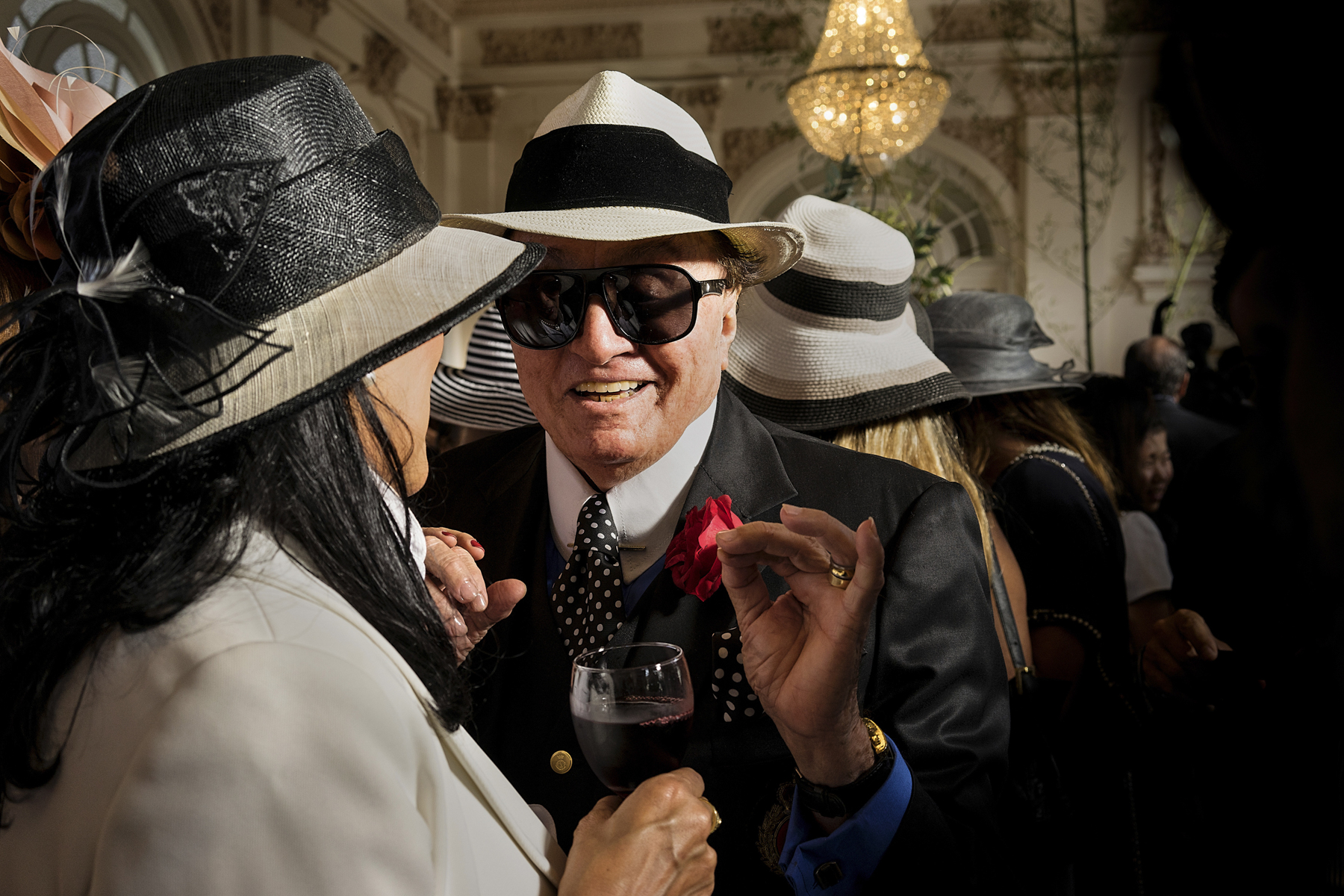 JUNE 2014, RIO DE JANEIRO, BRAZIL: Members of the Rio�s elite talking at the VIP area oft the Gavea Golf Country Club during the Annual Jockey National Award. It�s  the meeting point for the rich people of Rio de Janeiro, whether for a round of golf or a drink.