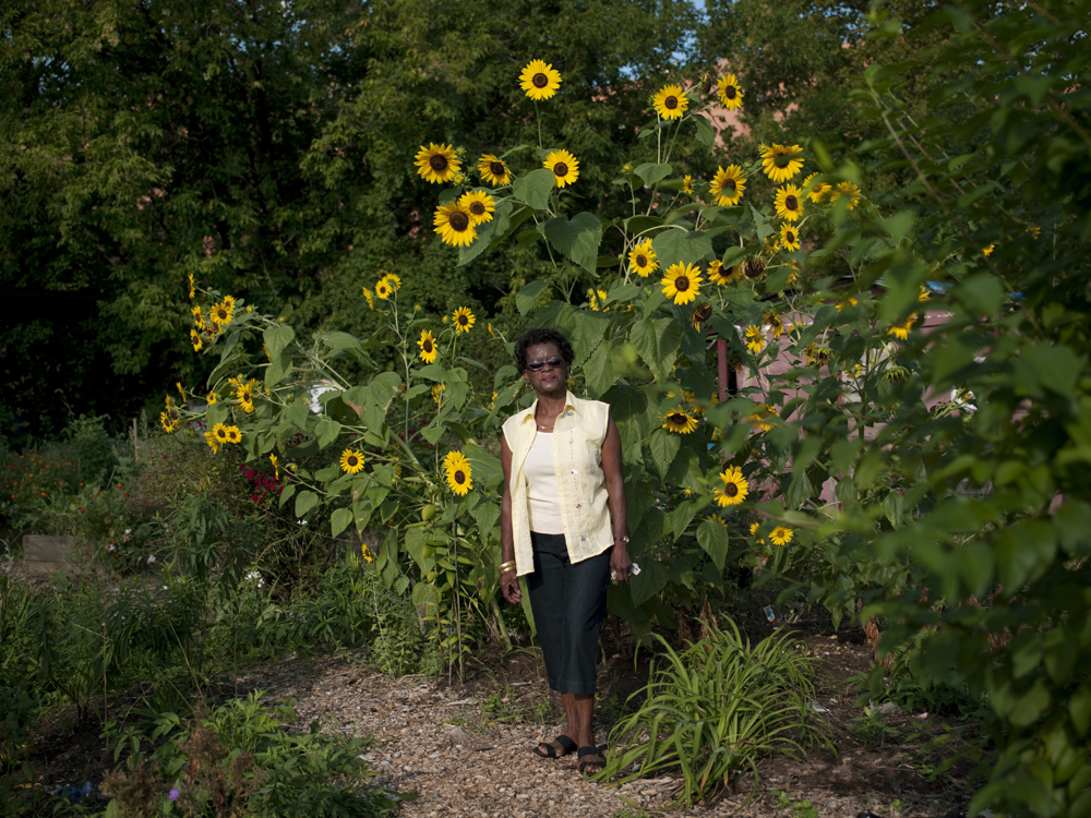 Located next to a car repair shack,  the River Garden is cared for by Nessie Panton. Nessie Panton, 73 years old,� a retired nurse�s aide at Harlem hospital, �started volunteering in the River Garden in 1986 . Like most of the gardens, it was formerly an abandoned lot where people would dump things.�� She first started planting cabbages, collard greenes, carrots and tomatoes,�� and now also� plants callaloo, a vegetable with high vitamin and mineral content that is popular in Jamacia where she grew up.�� �She is one of 8 gardeners who regularly work the land. � � �Sometimes I like to go in there by myself,� and when you have problems, you go in there and get peace of mind.�