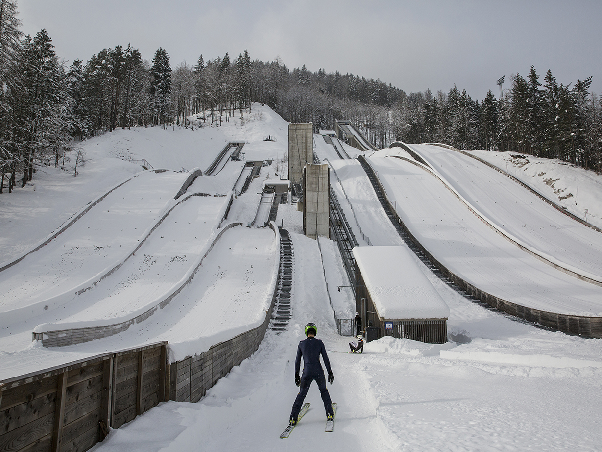 Nikola goes to the elevator that leads to the 80m ski jump from which he needs to jump. Planica, Slovenia/2019Photo/ Vladimir Zivojinovic