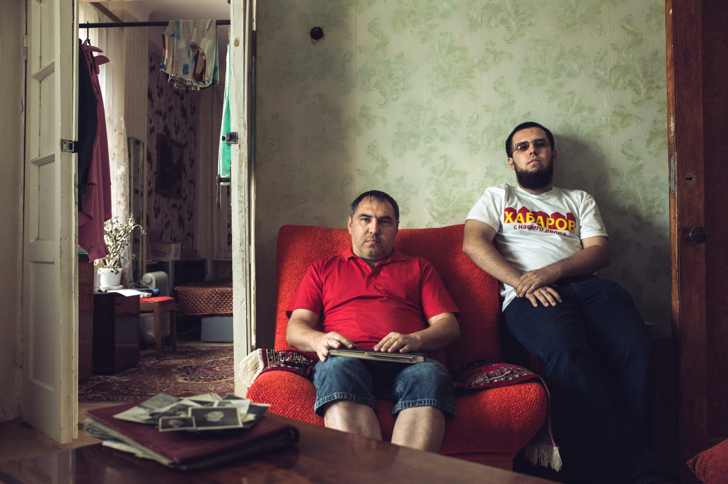 Russia, Voronezh, 27 August 2015. Nikita (Sayfuddin) Khabarov, 22 (R) is a fairly new convert who is still struggling to express his views on religion. He prefers not to tell why he has converted, but hinted on influence of friends.