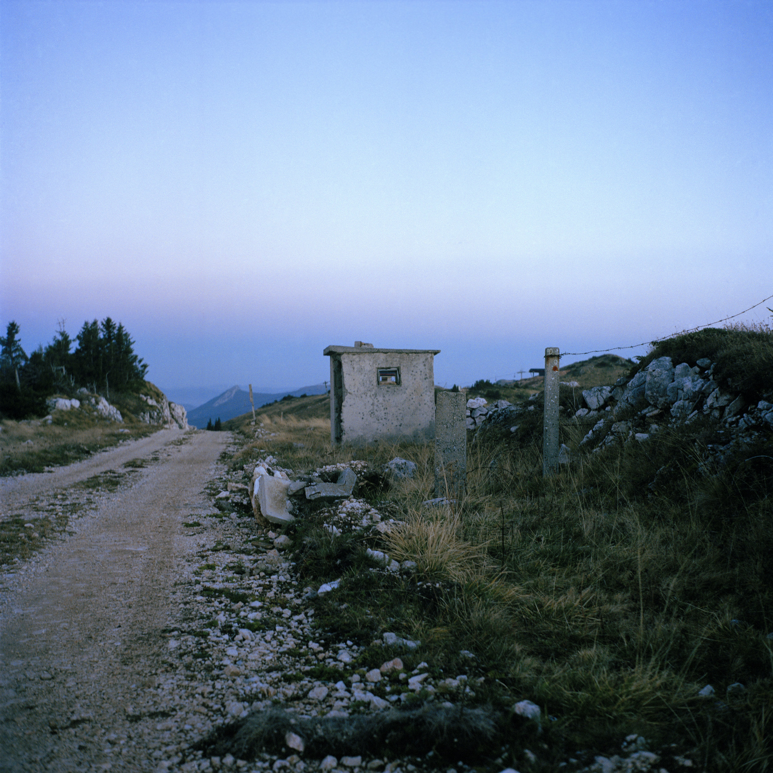 Bosnia and Herzegovina, Pale, October 2010. Mount Jahorina, close to Pale, about 15 km from Sarajevo, the administrative centre of Republika Srpska during the Bosnian War. A destroyed JNA (Yugoslav People's Army) checkpoint, controlled by VRS (Republika Srpska Army) during the war.