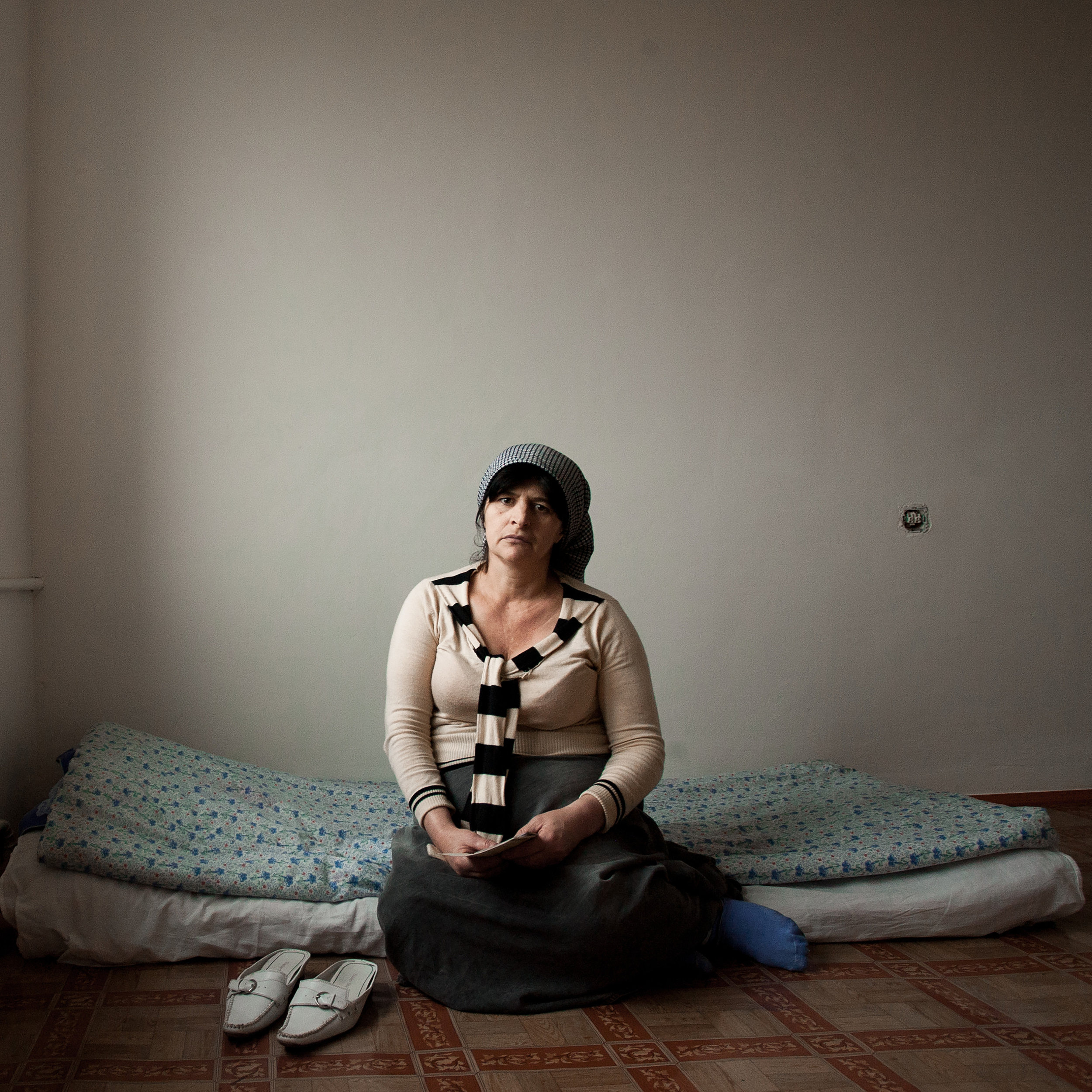 Russia, Chechnya, Grozny, 9 March 2010. Roza Vakayeva in her room in a dormitory for refugees