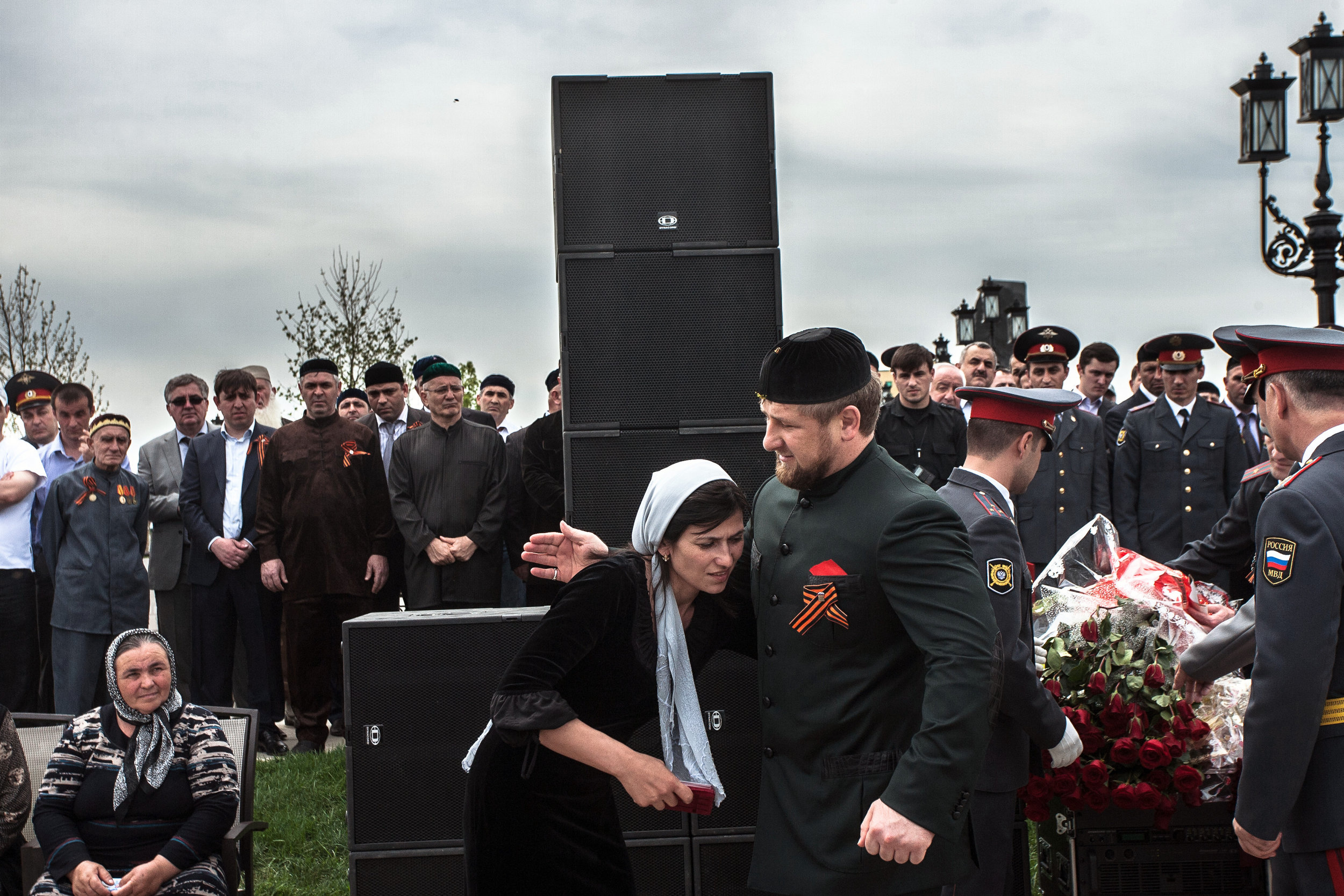 Russia, Chechnya, Grozny, 9 May 2010. Ramzan Kadyrov greets the widow of a policeman killed in clashes with rebels during a parade celebrating the 65th anniversary of Soviet victory in World War II