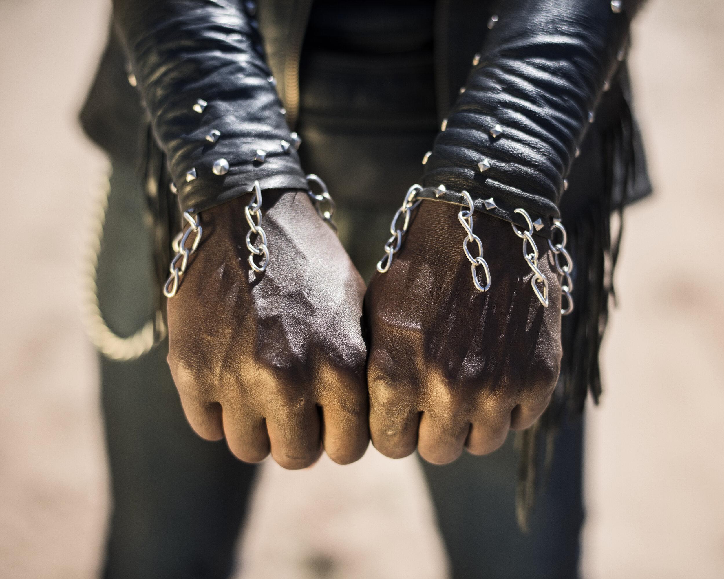 "Botswana, Ghanzi, May 20178th Anniversary Overthrust ""Winter Metal Mania Fest 2017"". Maxao Debele aka DIDI ROKK from Ghanzi. He doesn't play in band but likes the music and the metal community, his ""true brothers"".Pep Bonet / NOOR"