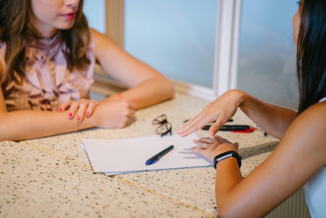 Women at a desk
