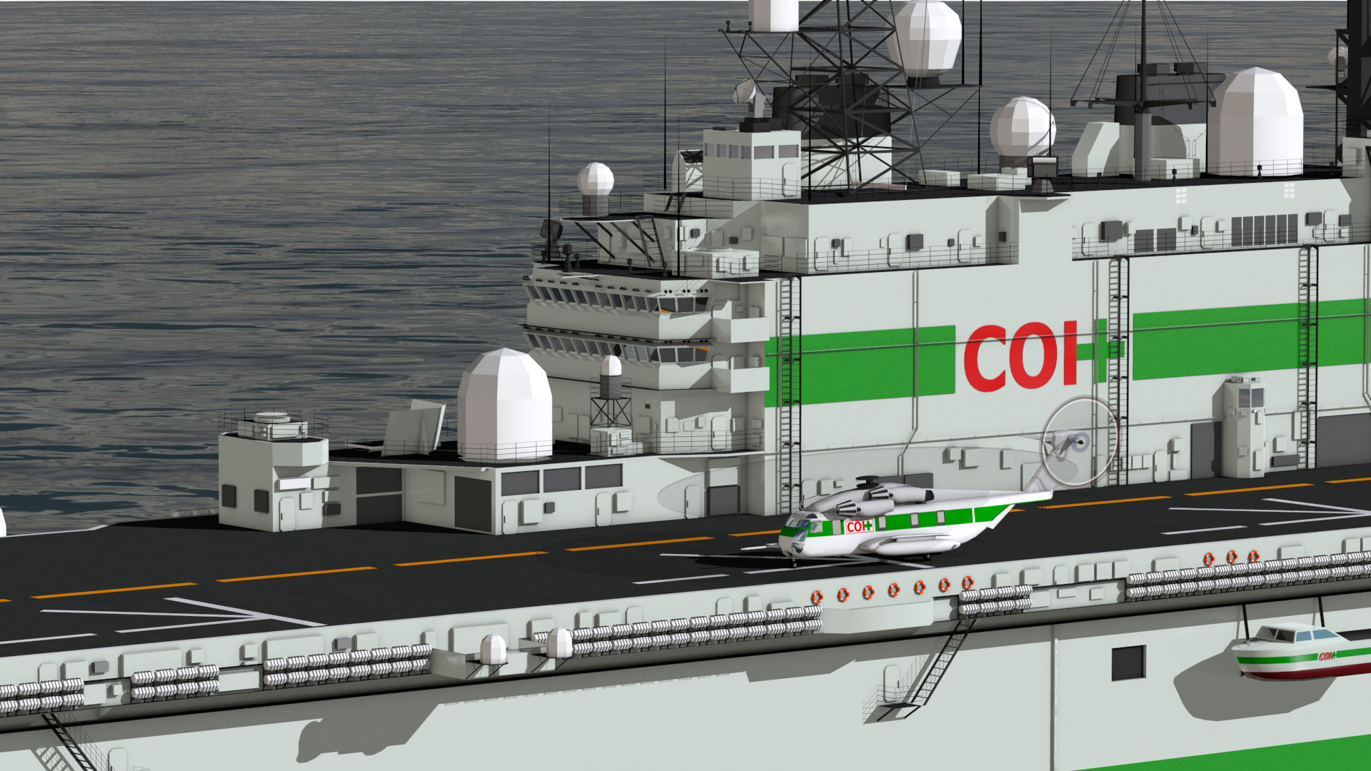Rendering of the USS Nassau back in commission