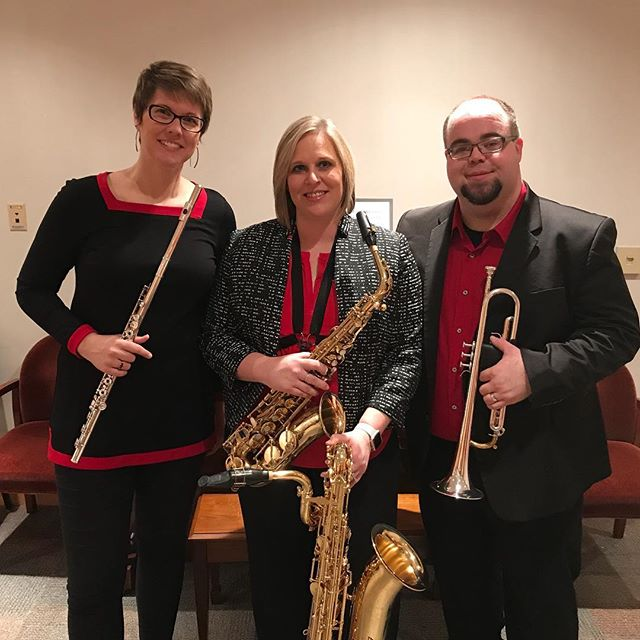 After our performance @saxalliance! Thanks to everyone who came and thanks @chrisdickhaus for the photography! Also thanks @selmersaxophones for allowing @drsaxo13 to use a bari!! #saxalliance #northamericansaxophonealliance #newmusic #essimartrio #newcompositions #trumpet #flute #saxophone