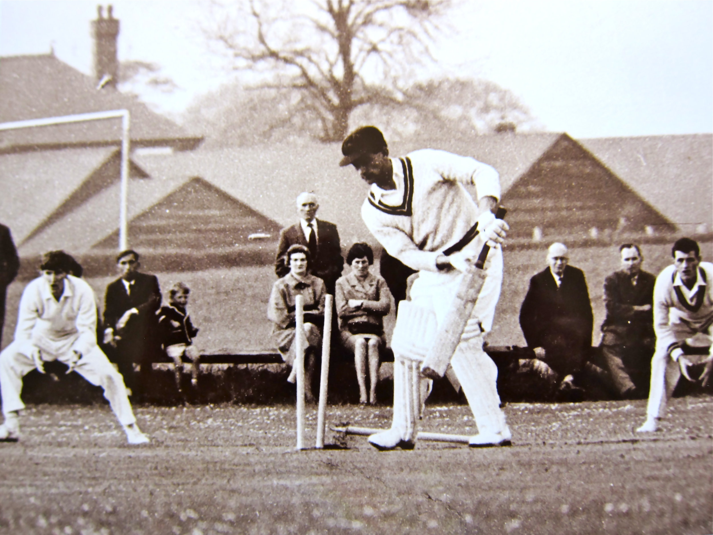 My Dad learning the hard way, having his leg stump uprooted by Wes Hall, one of the great West Indian fast bowlers