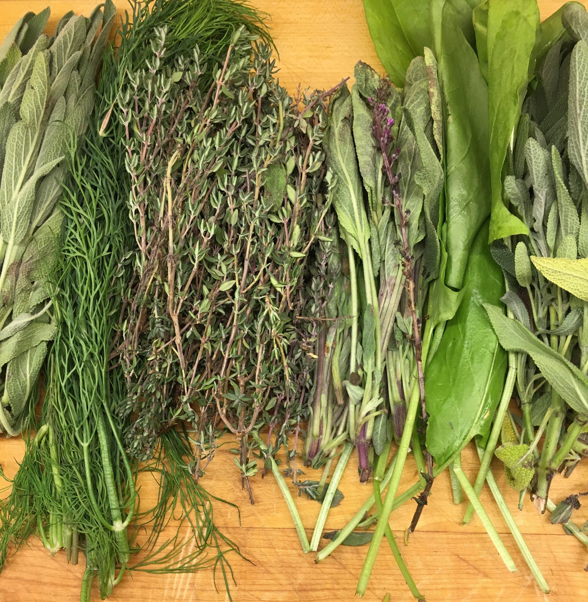 Fresh herbs on butcher block McCall Idaho personal chef