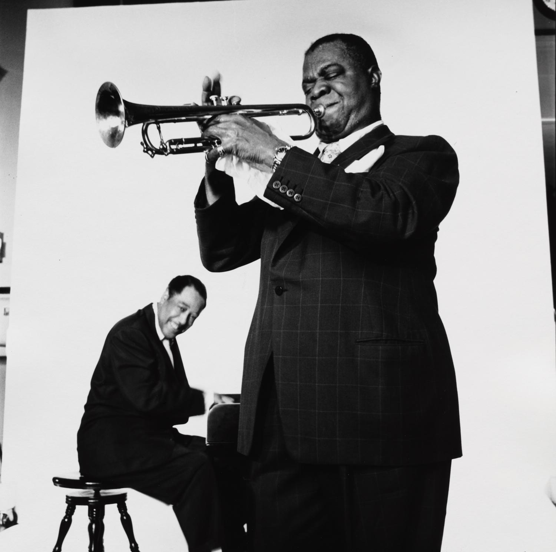 Duke Ellington and Louis Armstrong (2 of 3) , New York, 1955 Gelatin silver print © The Irving Penn Foundation