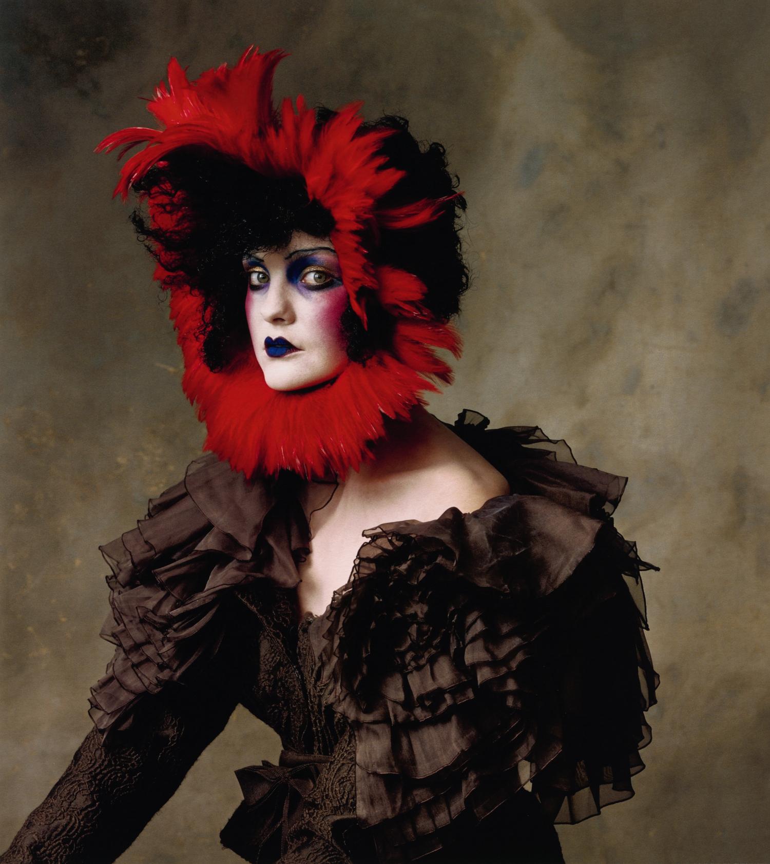 John Galliano Silk Wool Jacquard Jacket with Red Feather Headpiece , New York, 2007 Inkjet print © Condé Nast