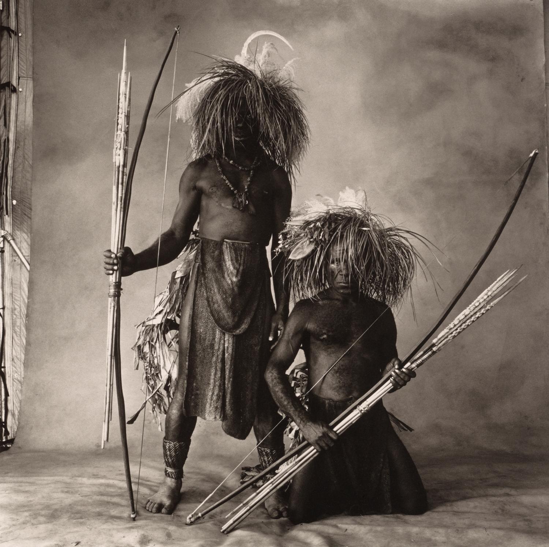 Two New Guinea Men with Grass Hair , 1970 Platinum-palladium print © The Irving Penn Foundation