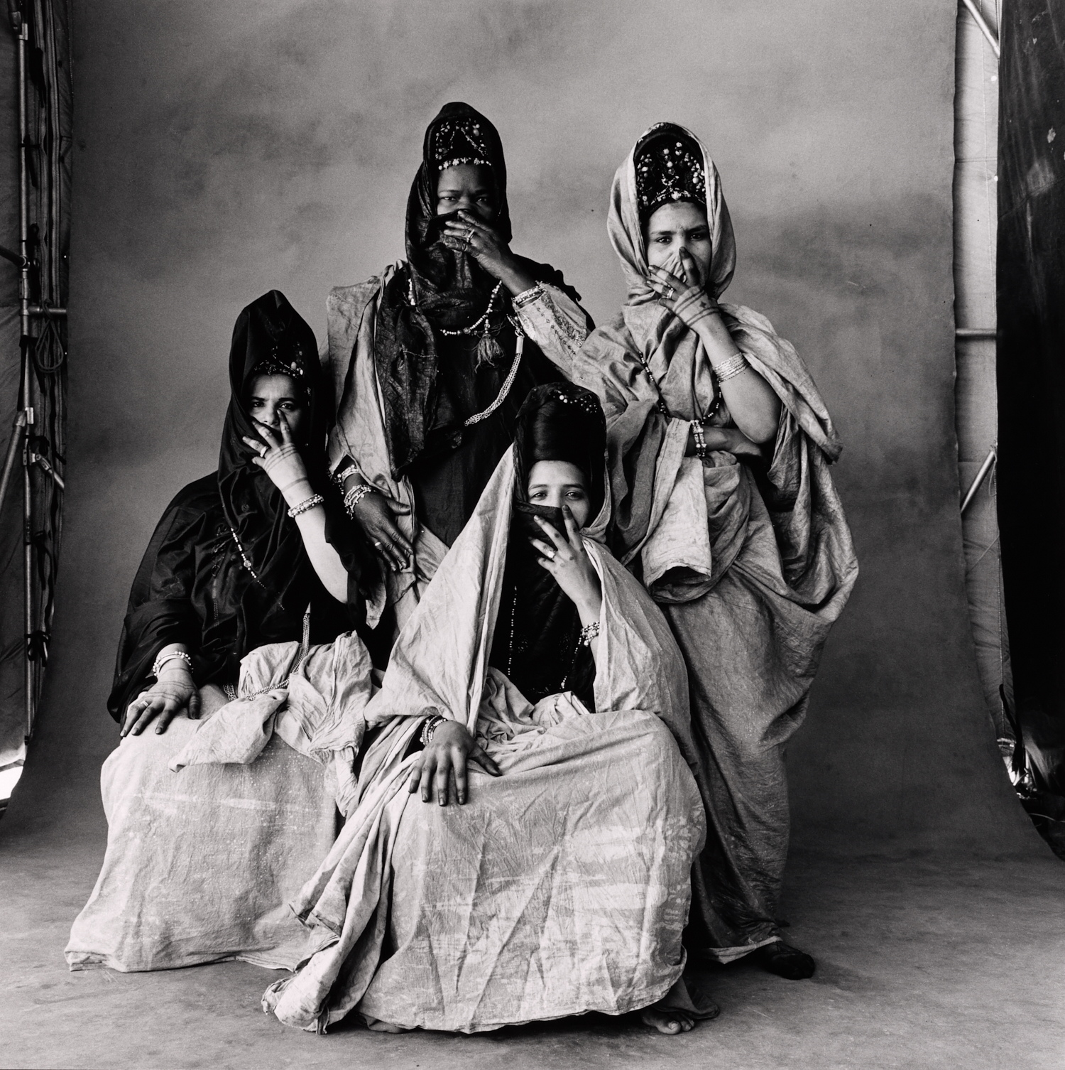 Four Guedras,Two Standing , Morocco, 1971 Gelatin silver print © The Irving Penn Foundation