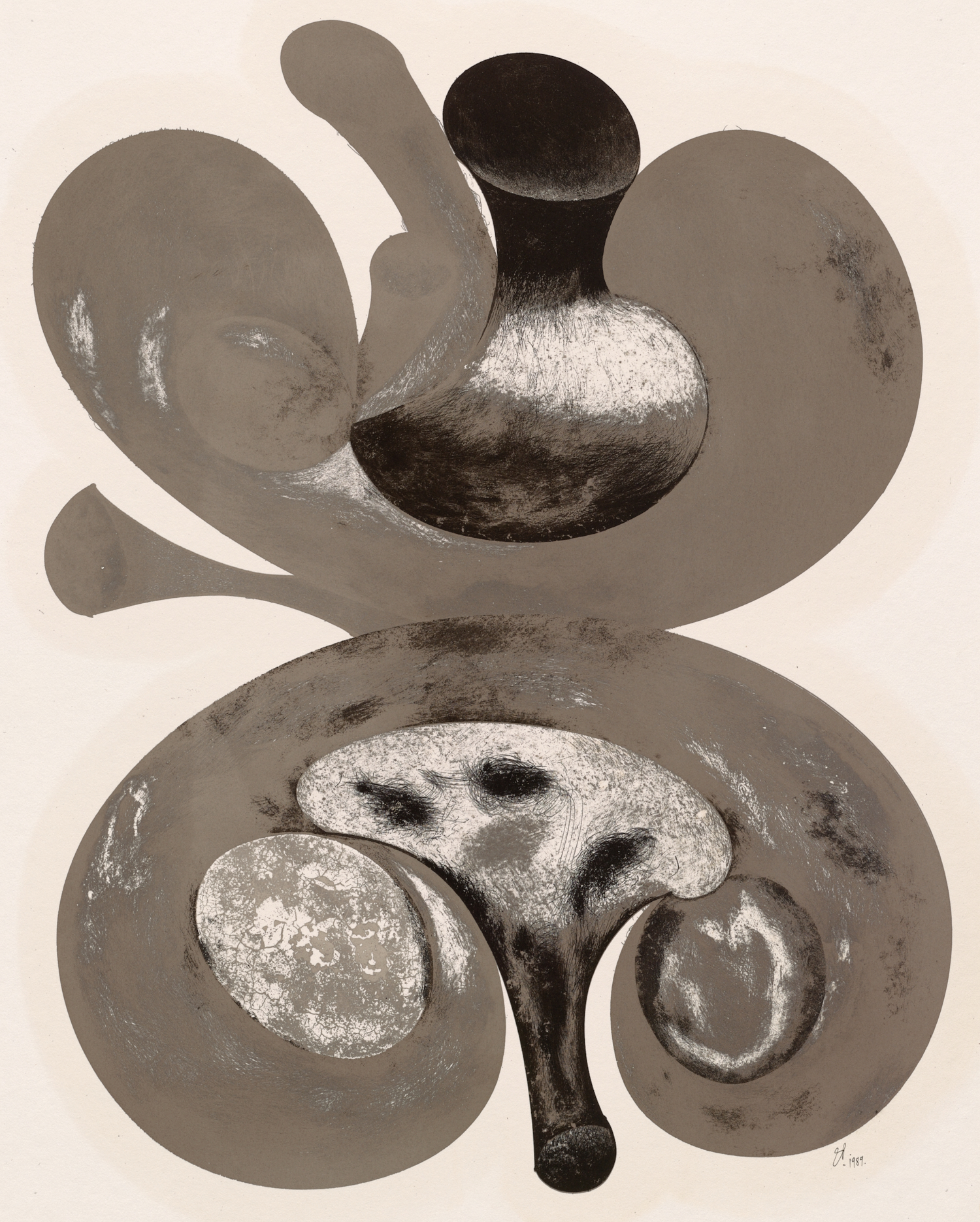 Two Mushrooms , 1998 Cliche-Verre over platinum-palladium print on paper © The Irving Penn Foundation